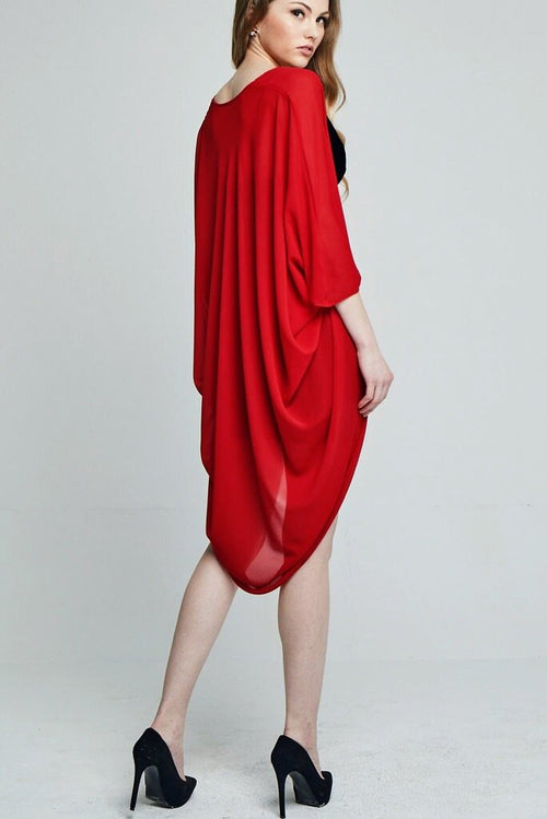 Model wearing red chiffon kimono facing back