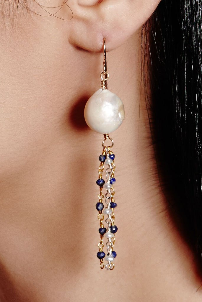 white pearls with streaming dark cherry gemstone beads earrings