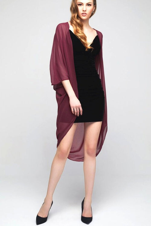 Model wearing marooned chiffon kimono facing front