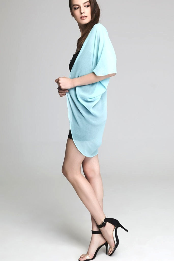 Model wearing short mint colored chiffon kimono side profile