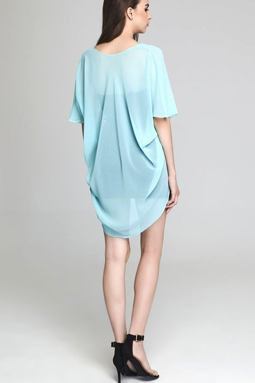 Model wearing short mint colored chiffon kimono facing back