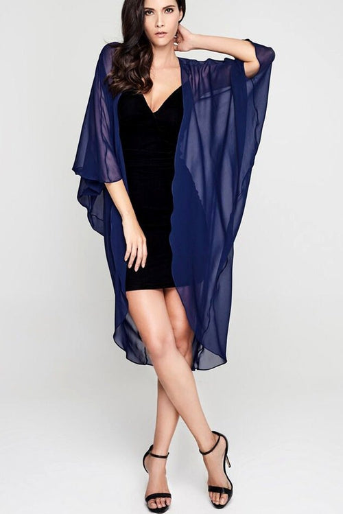 Model wearing 3 paneled dark blue silk kimono