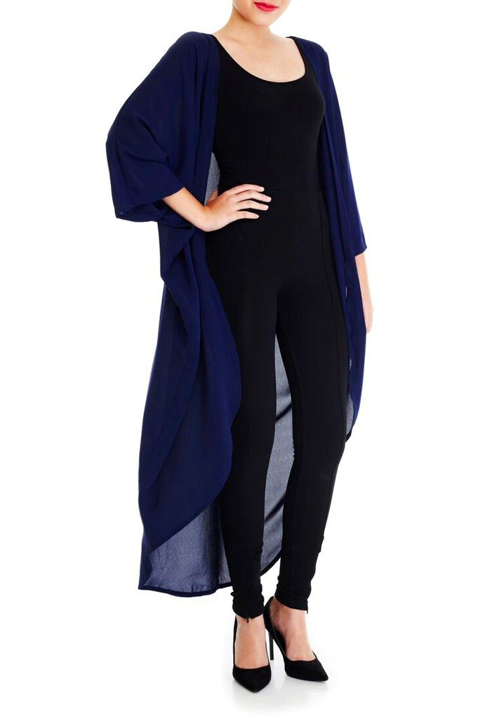 Model wearing long navy blue kimono facing front