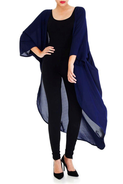 Model wearing long navy blue kimono