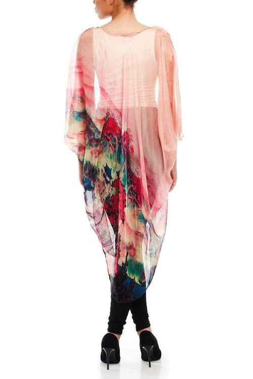 Model wearing pink chiffon kimono with striking ombre prints