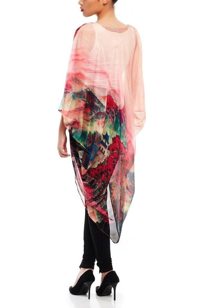 Model wearing pink chiffon kimono with striking ombre prints facing back