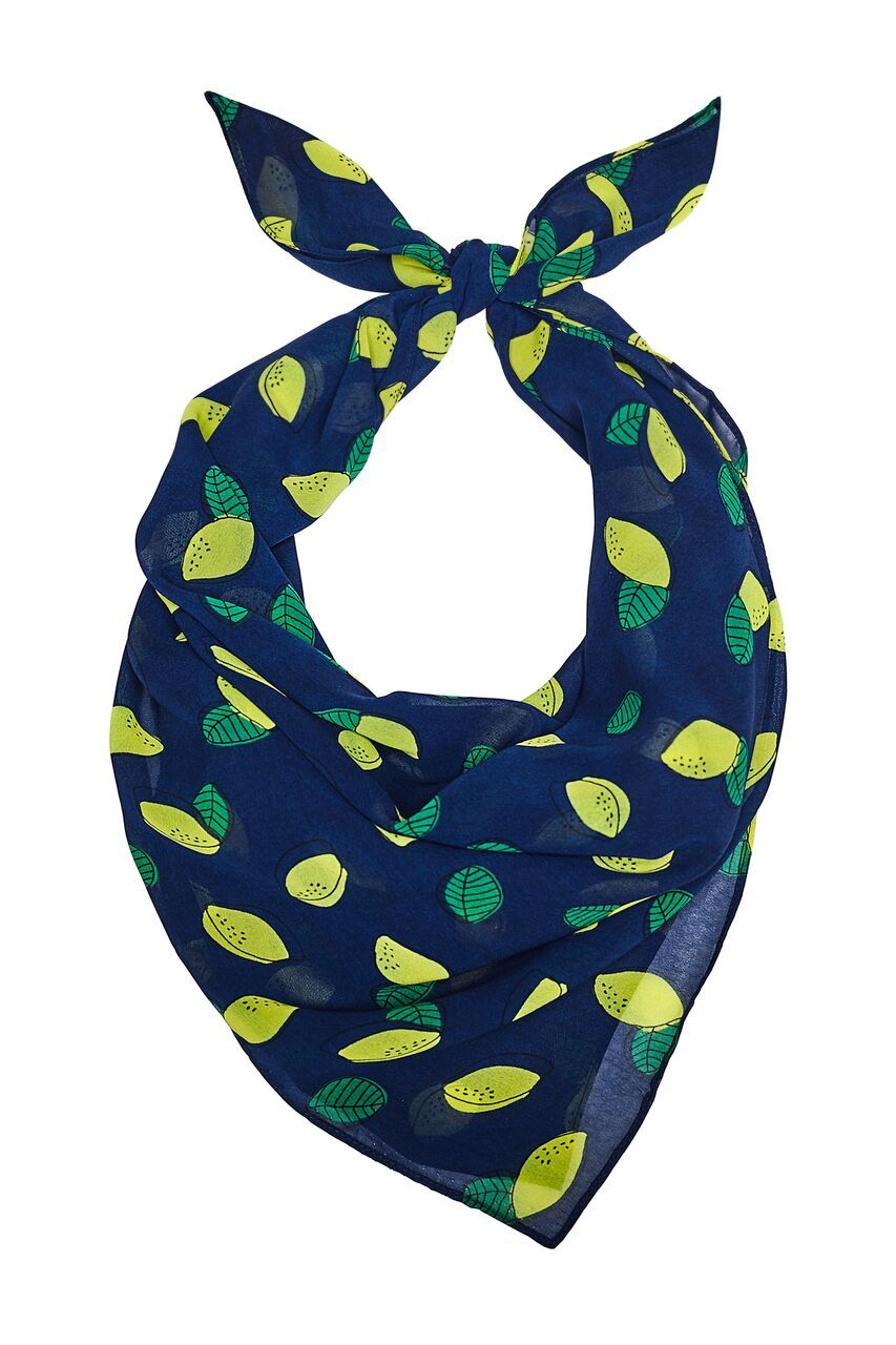 Blue scarf with lemon prints