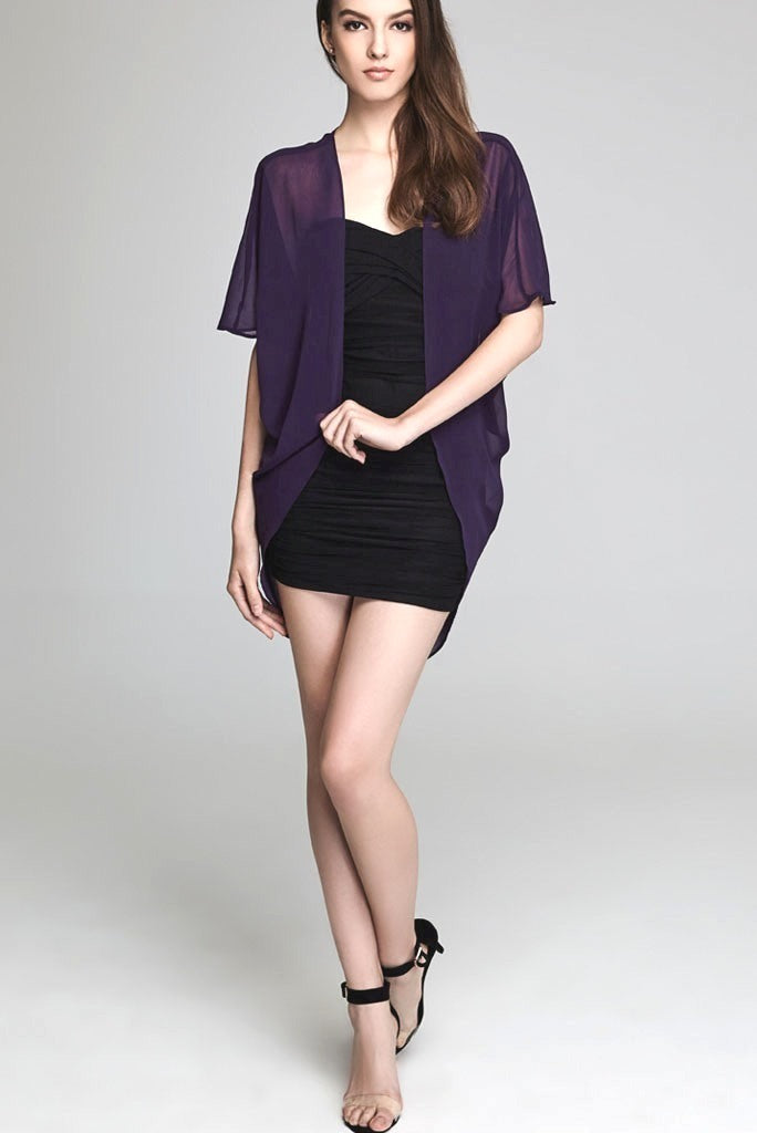 Model wearing short purple chiffon kimono facing front