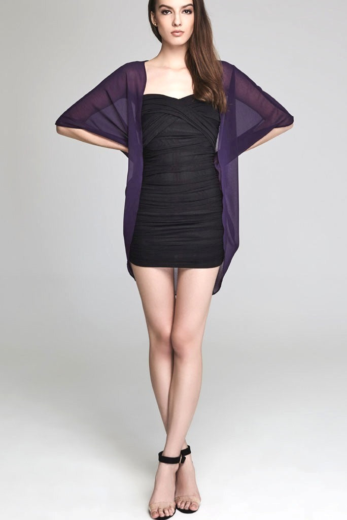 Model wearing short purple chiffon kimono