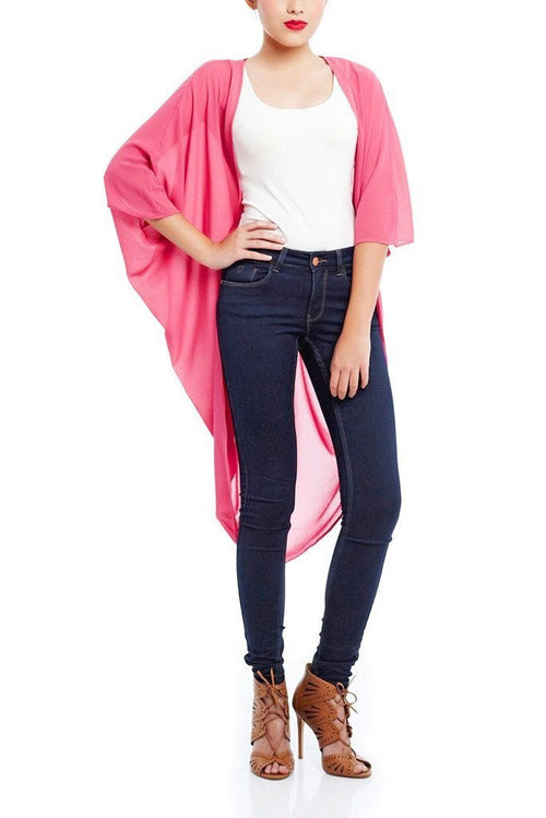 Model wearing pink chiffon kimono facing front