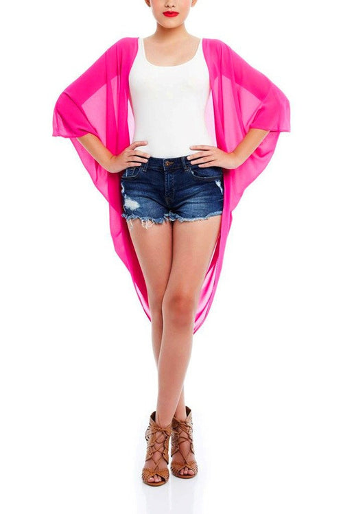 Model wearing magenta chiffon kimono facing front
