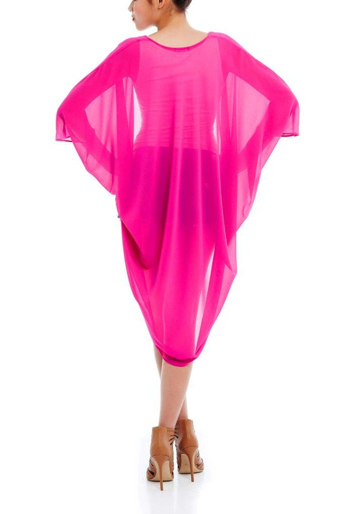 Model wearing magenta chiffon kimono facing back