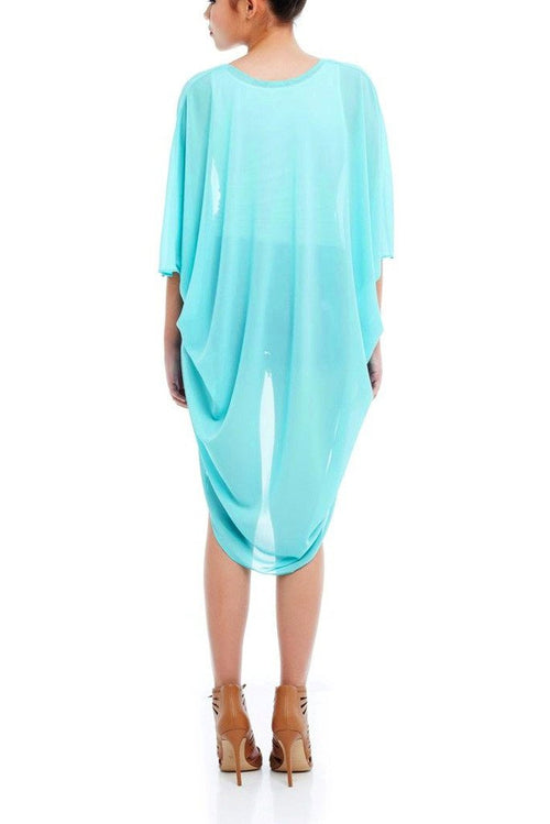Model wearing mint coloured chiffon kimono