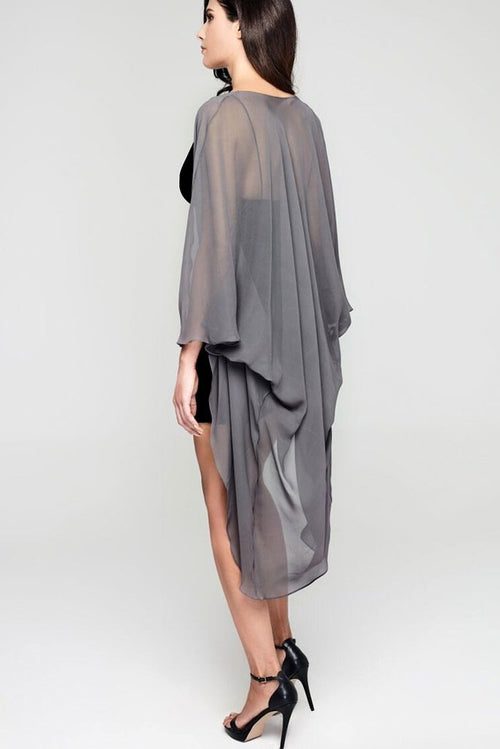 Model wearing 3 paneled grey silk kimono facing back