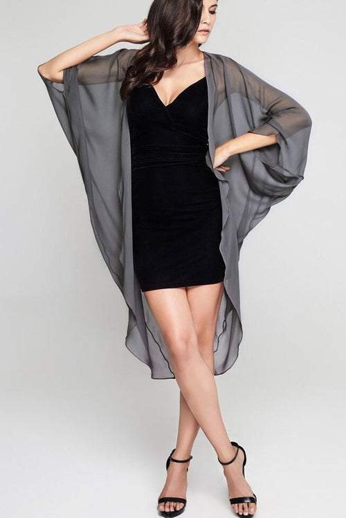 Model wearing 3 paneled grey silk kimono