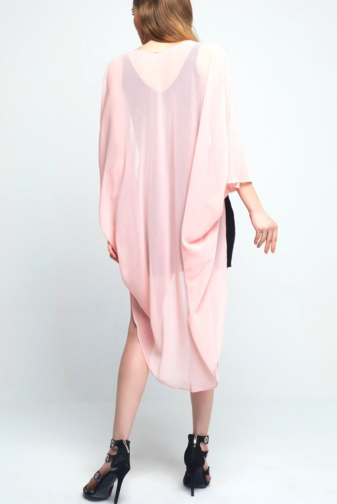 Model wearing light pink chiffon kimono