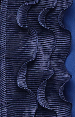 navy blue chiffon fabric with a ruffle border in twilight blue