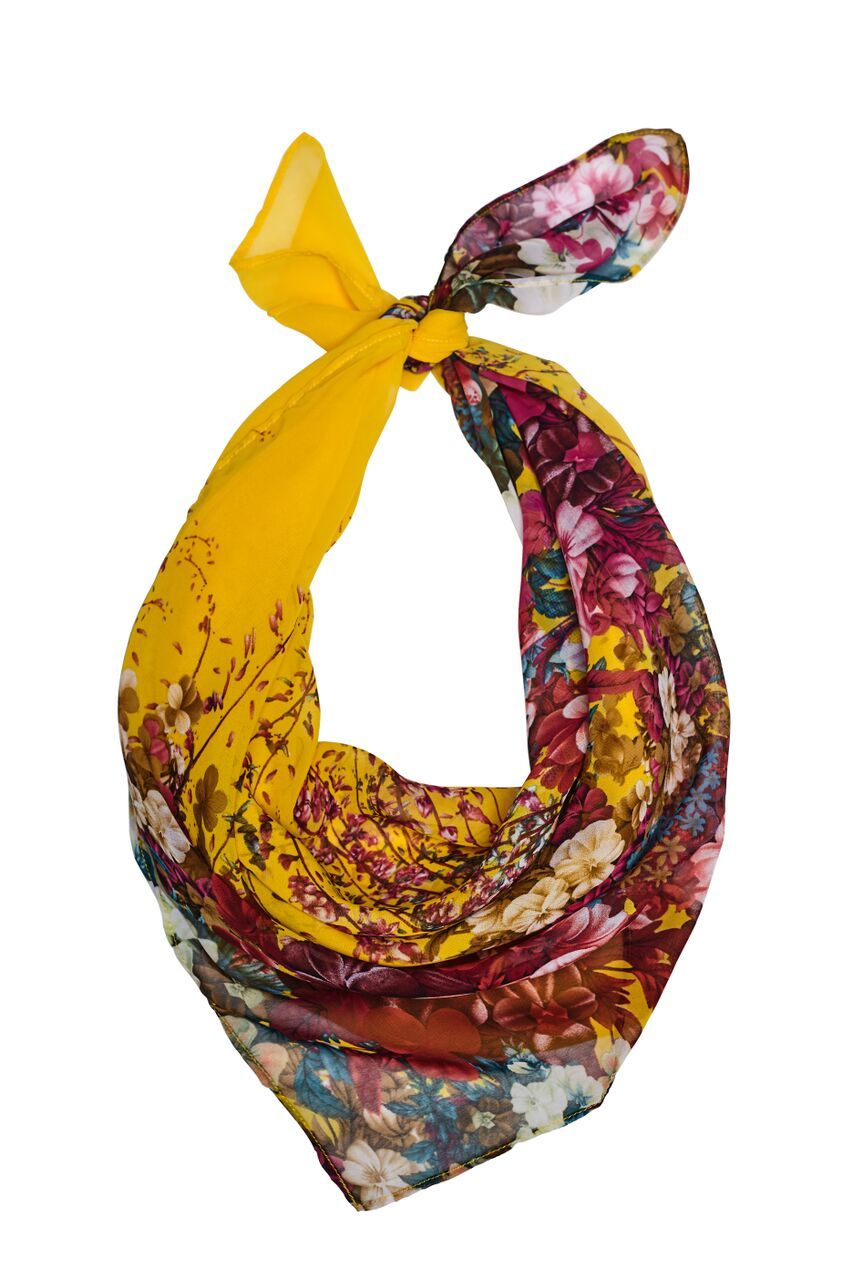 Yellow scarf with floral prints