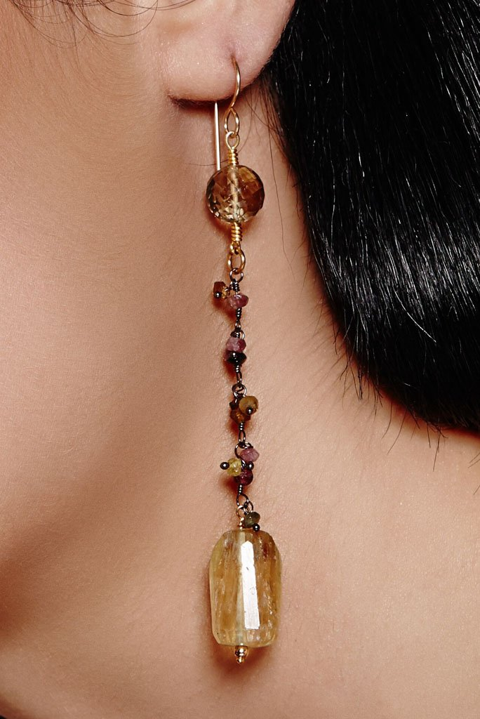 Earrings - lemon quartz with colourful fruity gemstone beads.