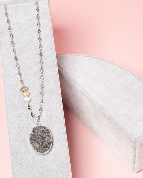 Necklace -  grey druzy is suspended on a silver plated chain, accented by sweet freshwater pearls.