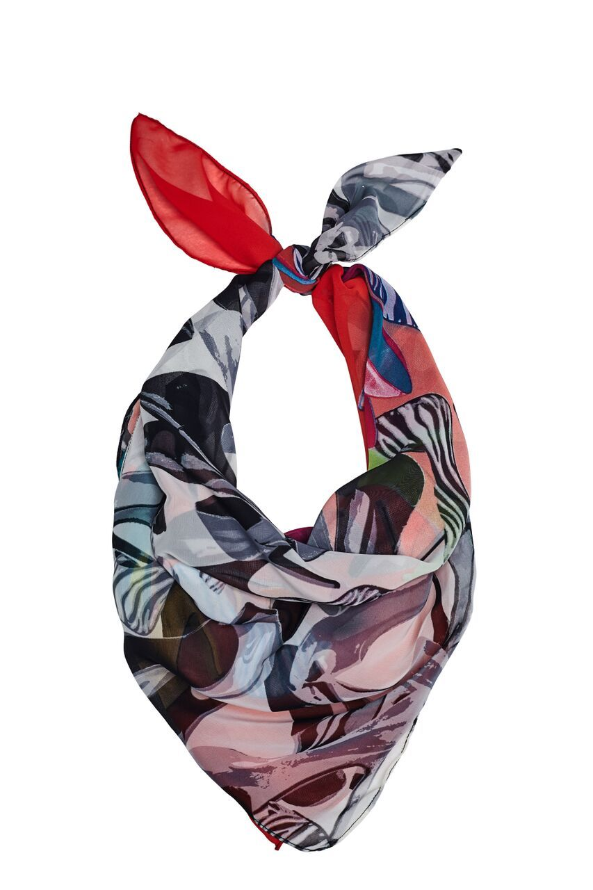Scarf in a splash of black, white & vibrant colors