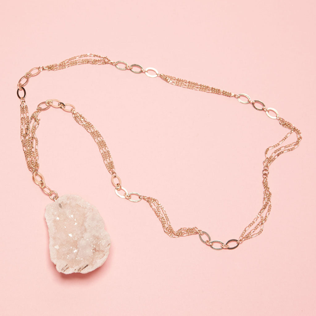 large sugary crystal druzy on a gold plated chain