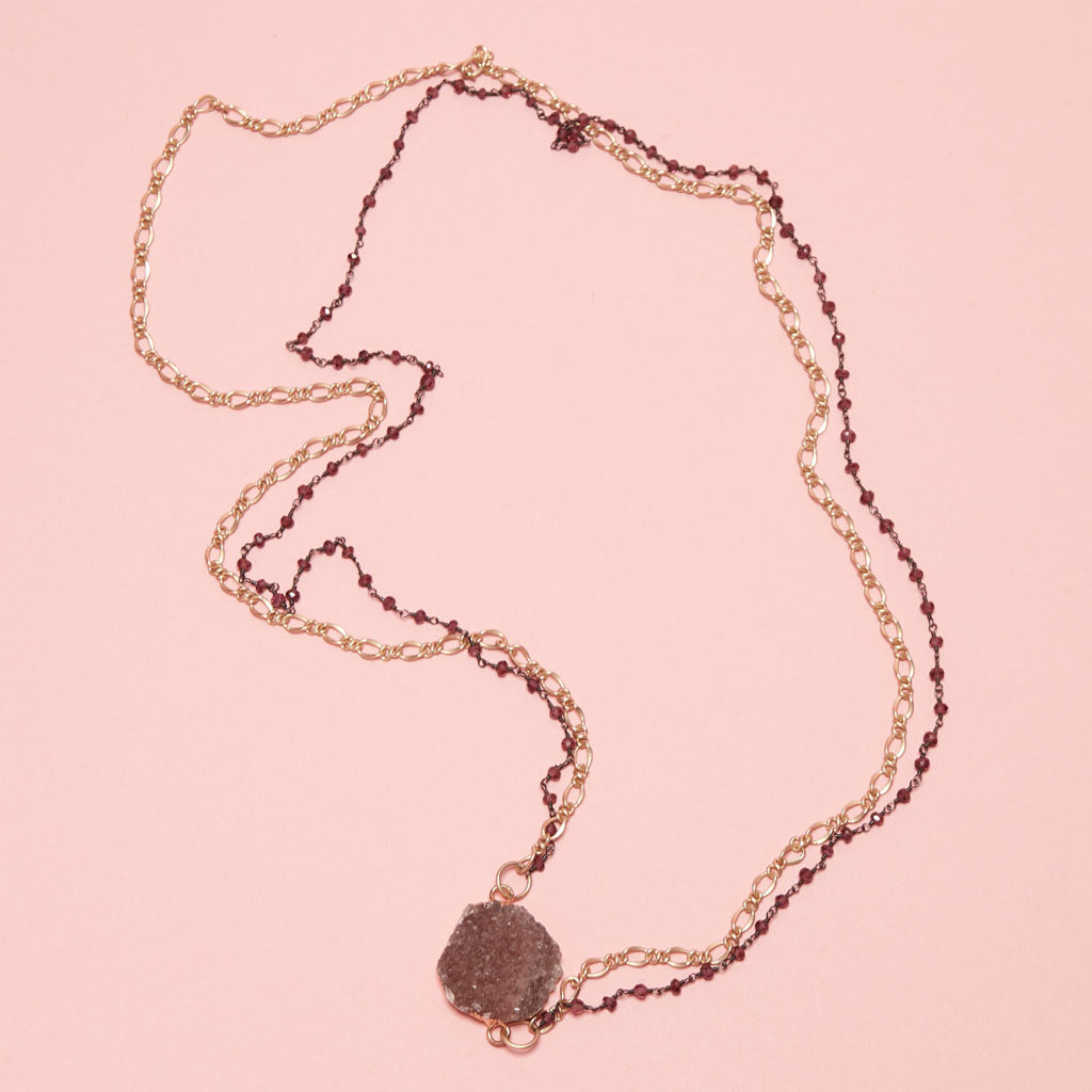 pink druzy with a gold-plated and sweet pink beaded chain necklace