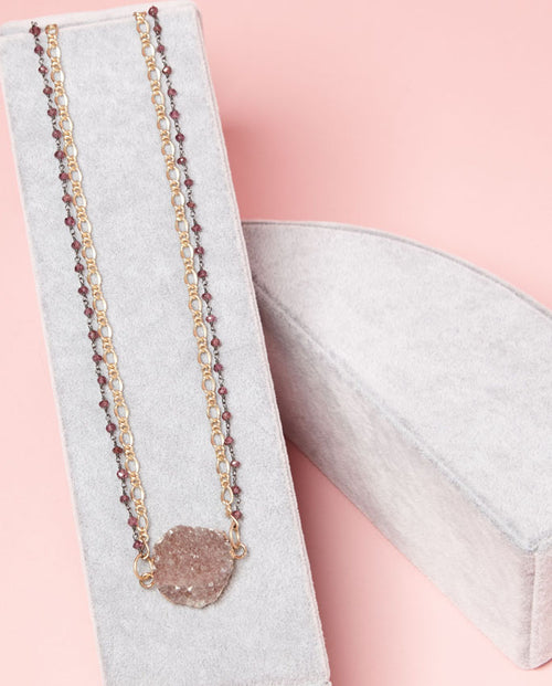Necklace - pink druzy surrounded by a gold-plated and sweet pink beaded chain