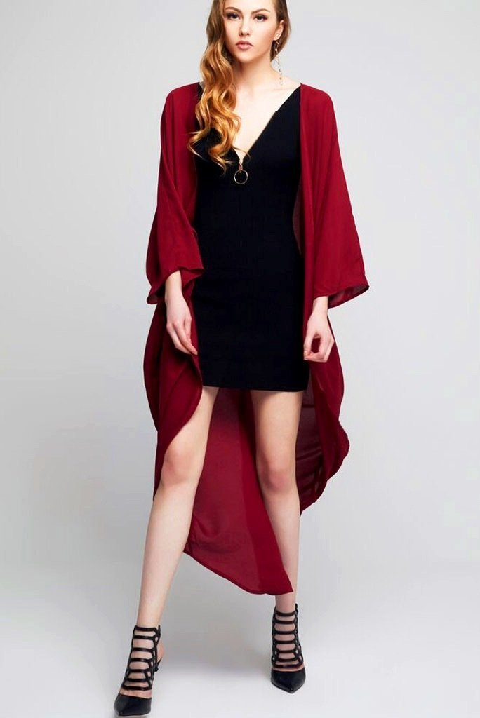 Model wearing long dark red crepe kimono front facing