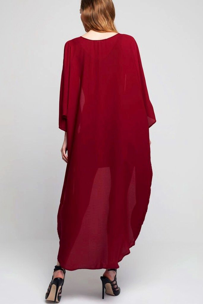 Model wearing long dark red crepe kimono back shot