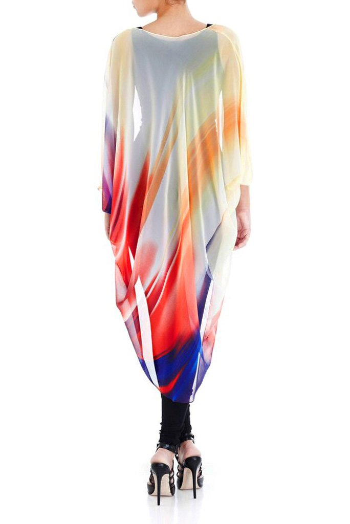 Model wearing chiffon kimono with brushes of color