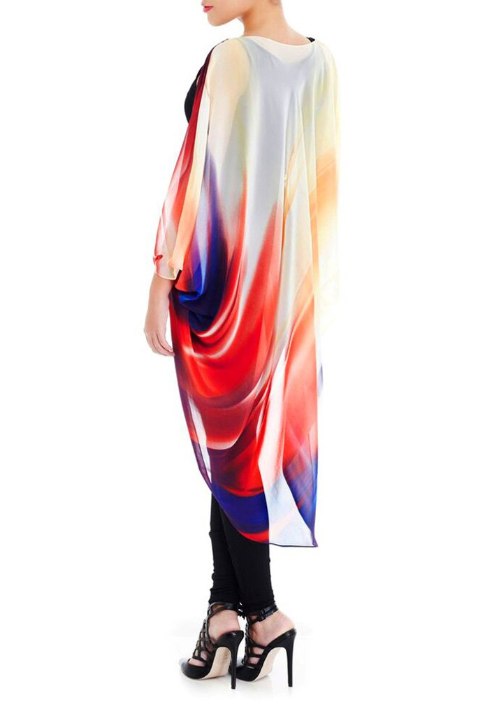 Model wearing chiffon kimono with brushes of color facing back