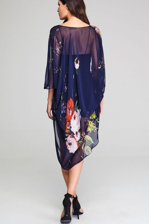 Model wearing blue chiffon kimono with floral prints