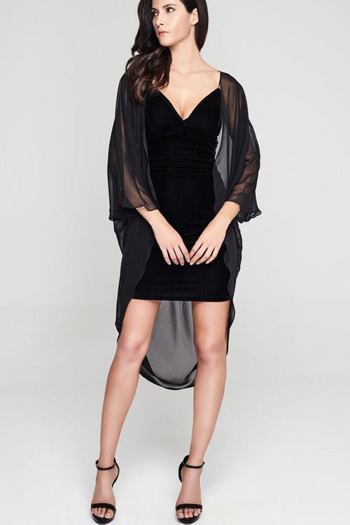 Model wearing 3 paneled black silk kimono