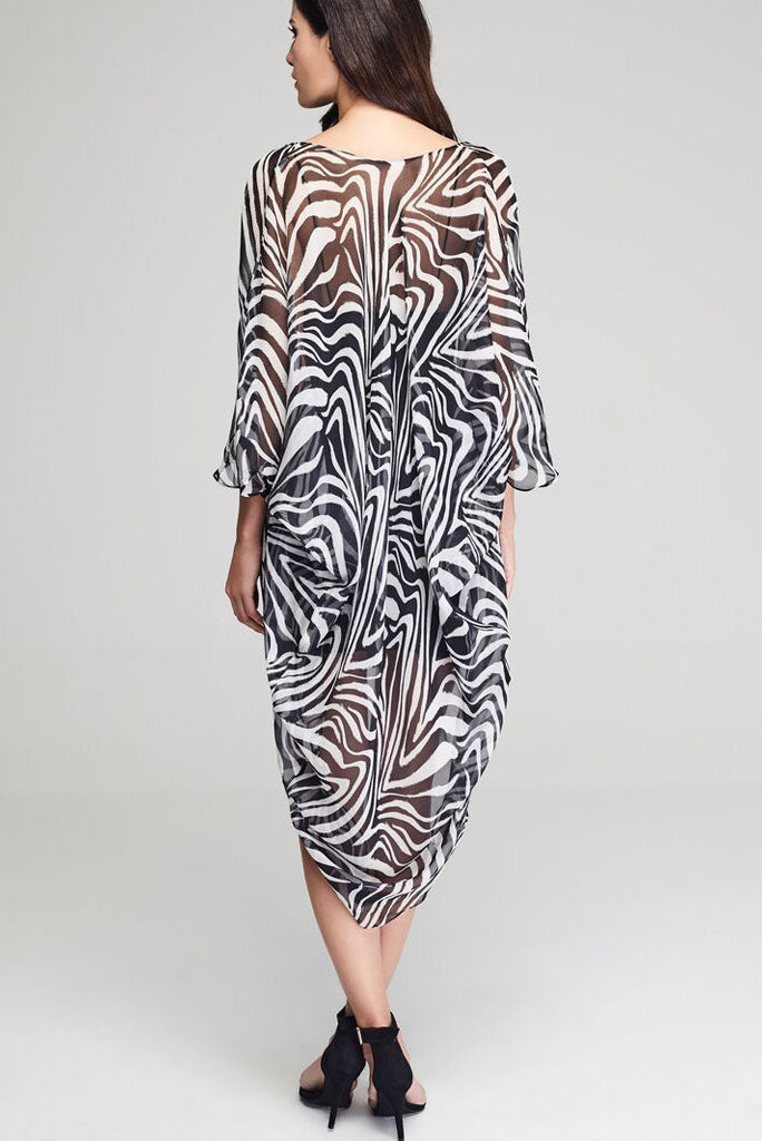 Model wearing black & white zebra prints silk kimono facing back