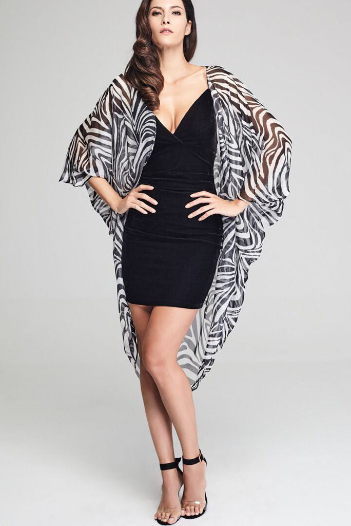 Model wearing black & white zebra prints silk kimono