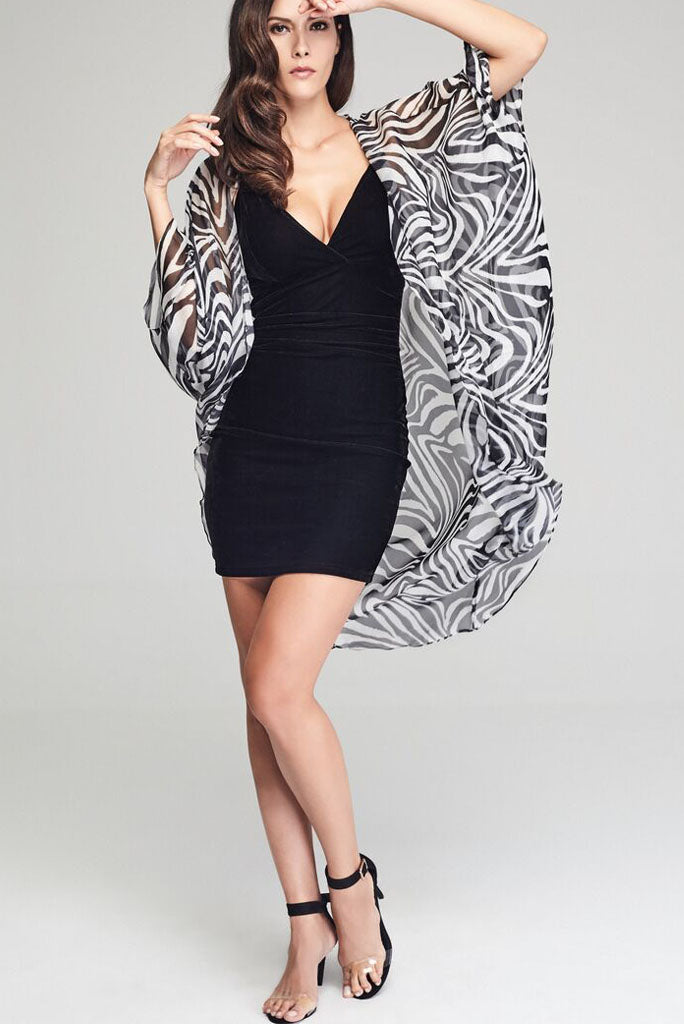 Model wearing black & white zebra prints silk kimono facing front