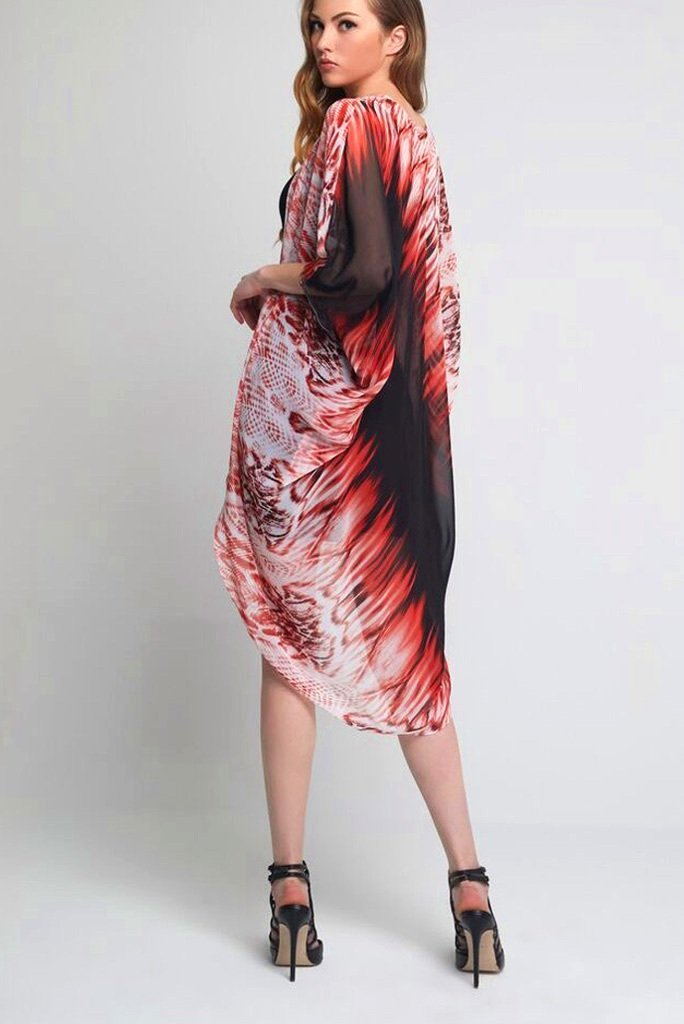 Model wearing black and red prints kimono back profile