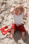 Red with Cream Turnover - Thai Fisherman Trousers - 0-3 yrs