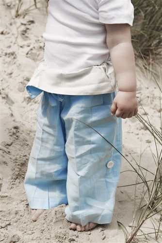Sky Blue with Cream Turnover - Thai Fisherman Trousers - 0-3 yrs