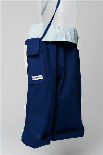 Blue with Cream Turnover - Thai Fisherman Trousers - 3-10 yrs