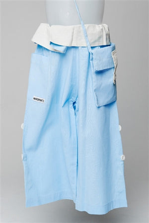 Sky Blue with Cream Turnover - Thai Fisherman Trousers - 3-10 yrs