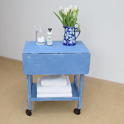 Vintage Shabby Chic Trolley Painted Annie Sloan 'Greek Blue'
