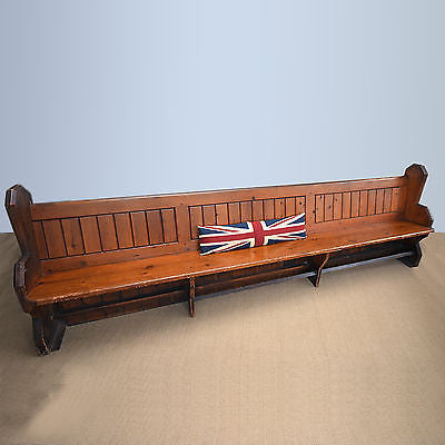 Large Victorian Pine Church Pew