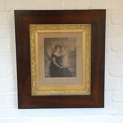 Antique English School Engraving of HRH Duchess of Kent & Princess Victoria