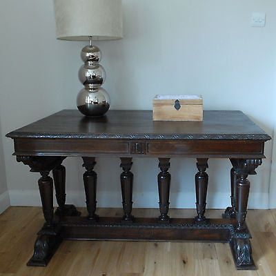 C19th Antique Walnut Library Table, Hall, Side, Buffet, Serving Table, Desk