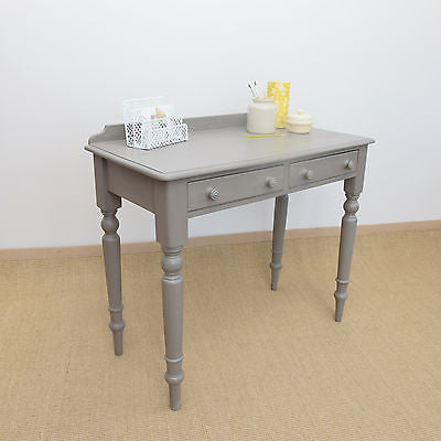 Vintage Shabby Chic Side Table, Writing Desk, Dressing Table, Painted Grey