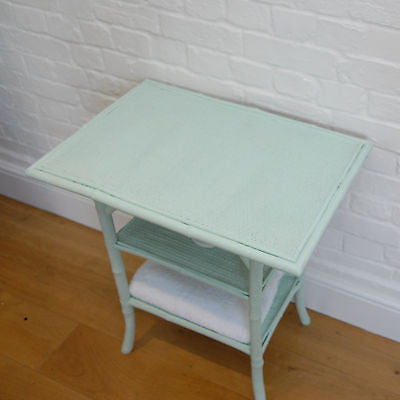 Antique Painted Bamboo & Rattan Side Table