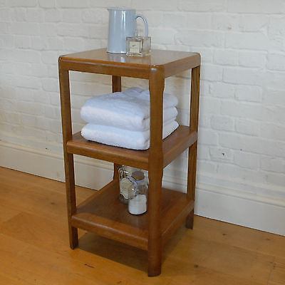 Vintage Oak Side Table, 3 Tier Bedside Table, Lamp Table, Shelves, Storage