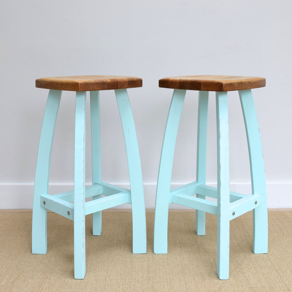 Pair of Modern Solid Oak Stools